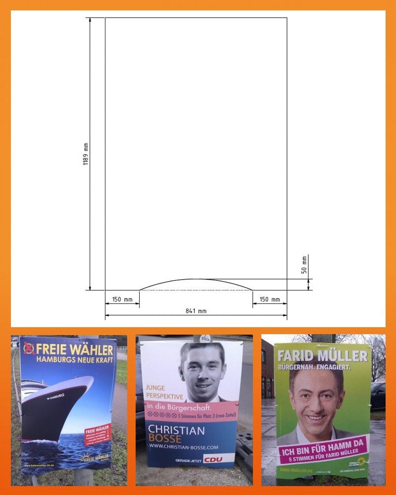 Hohlkammerplakate Hamburger Schnitt - Begeisternder-Wahlkampf.de